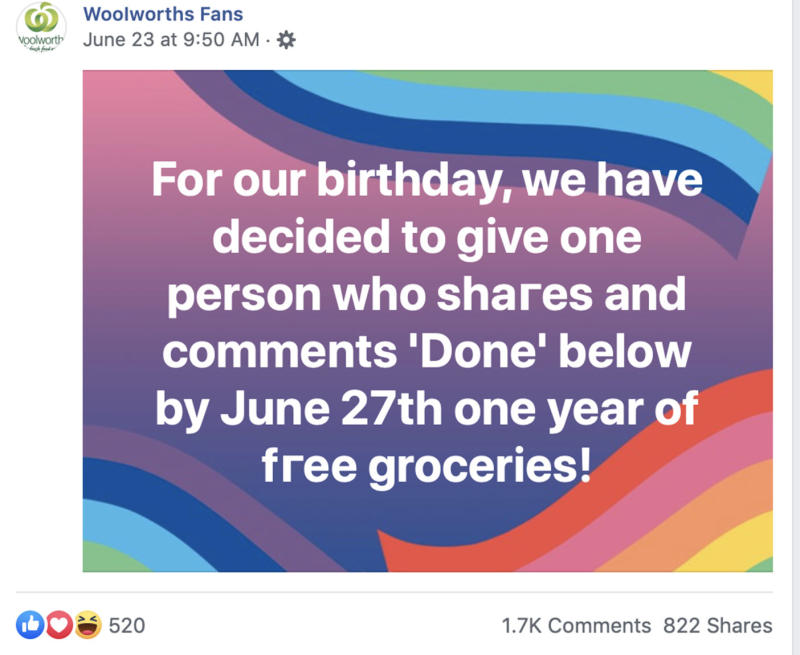 Woolworths has warned of an apparent phishing scam targeting Facebook users. Source: Woolworths Fans / Facebook