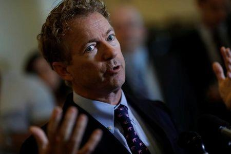 Sen. Rand Paul (R-KY) speaks at a press conference about the latest Republican Effort to repeal and replace the Affordable Care Act on Capitol Hill in Washington