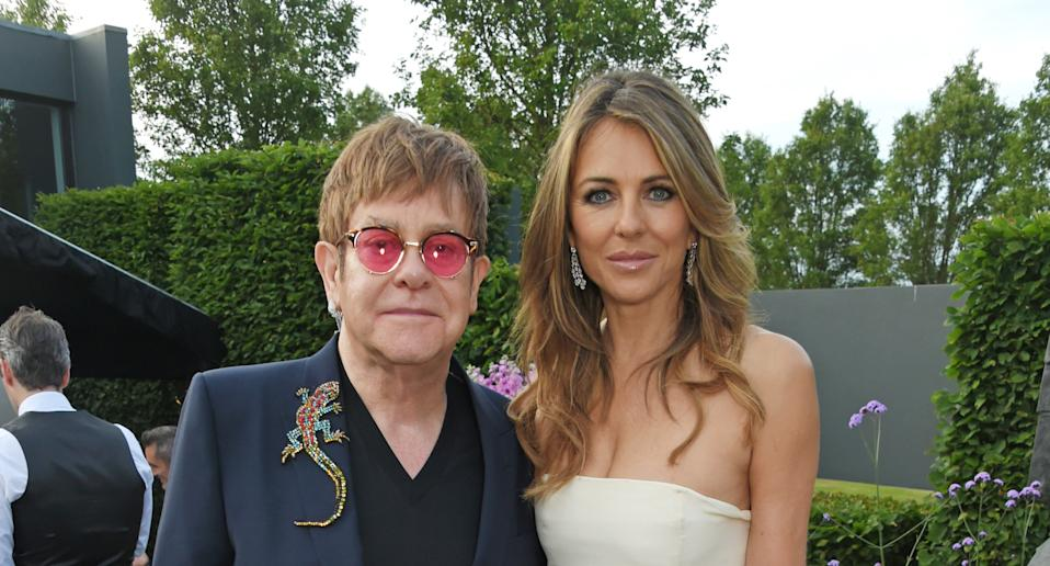 Sir Elton John and Elizabeth Hurley star in a new NHS campaign. (Photo by David M Benett/Dave Benett/Getty Images for BVLGARI)