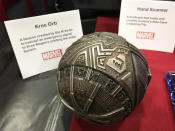 """<p>""""I was a big <i>Star Wars</i> fan growing up; this is my homage to the Death Star,"""" says Bauer, pointing to the hole on the bottom. Bauer eventually used the triangles as inspiration for part of the Darkhold cover.<br>(Credit: Yahoo TV)(Credit: Yahoo TV) </p>"""