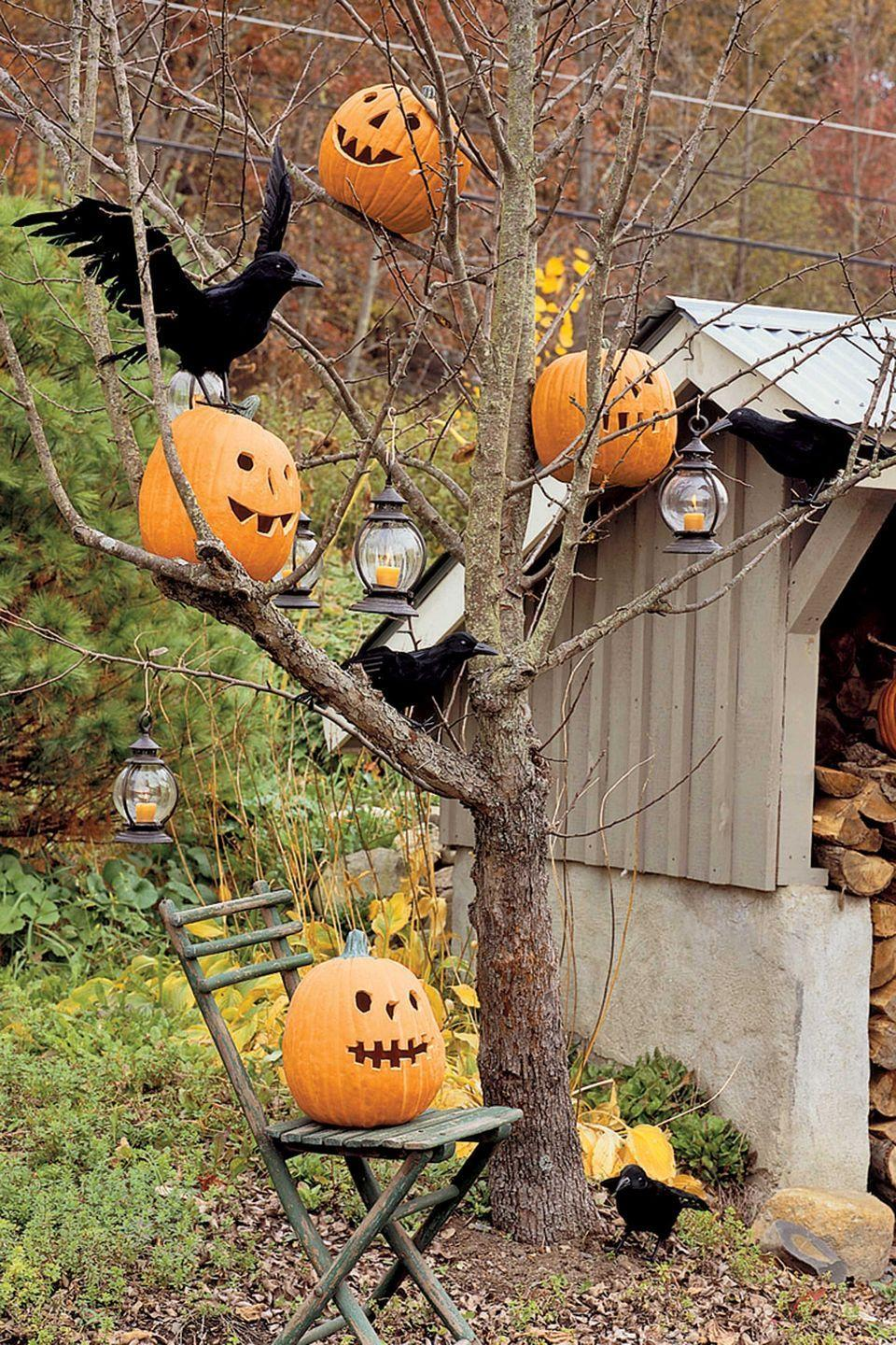 <p>Bare-limbed trees provide the perfect ghostly perch for jack-o'-lanterns, LED candle lanterns, and a flock of faux black crows. Make sure the tree limbs are sturdy enough to support the weight of the items you are hanging and take care not to over-decorate, which can lessen the overall effect. Funkins (Styrofoam pumpkins) are an especially good choice for this project, since they're lightweight and won't rot. </p>