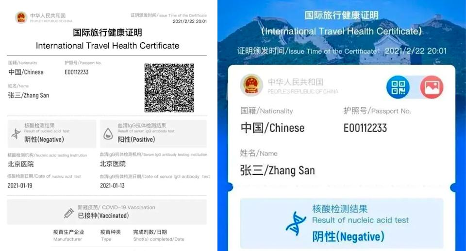 A paper and digital version of the health certificate. Source: Foreign Ministry