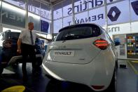Steve Tomlin shows the new version of Renault's small battery electric Zoe model car in Reading