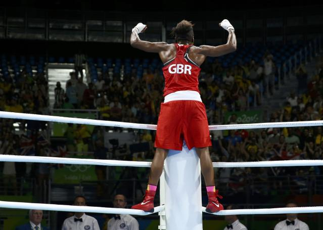 2016 Rio Olympics - Boxing - Final - Women's Fly (51kg) Final Bout 267 - Riocentro - Pavilion 6 - Rio de Janeiro, Brazil - 20/08/2016. Nicola Adams (GBR) of Britain celebrates after winning her bout. REUTERS/Peter Cziborra TPX IMAGES OF THE DAY. FOR EDITORIAL USE ONLY. NOT FOR SALE FOR MARKETING OR ADVERTISING CAMPAIGNS.