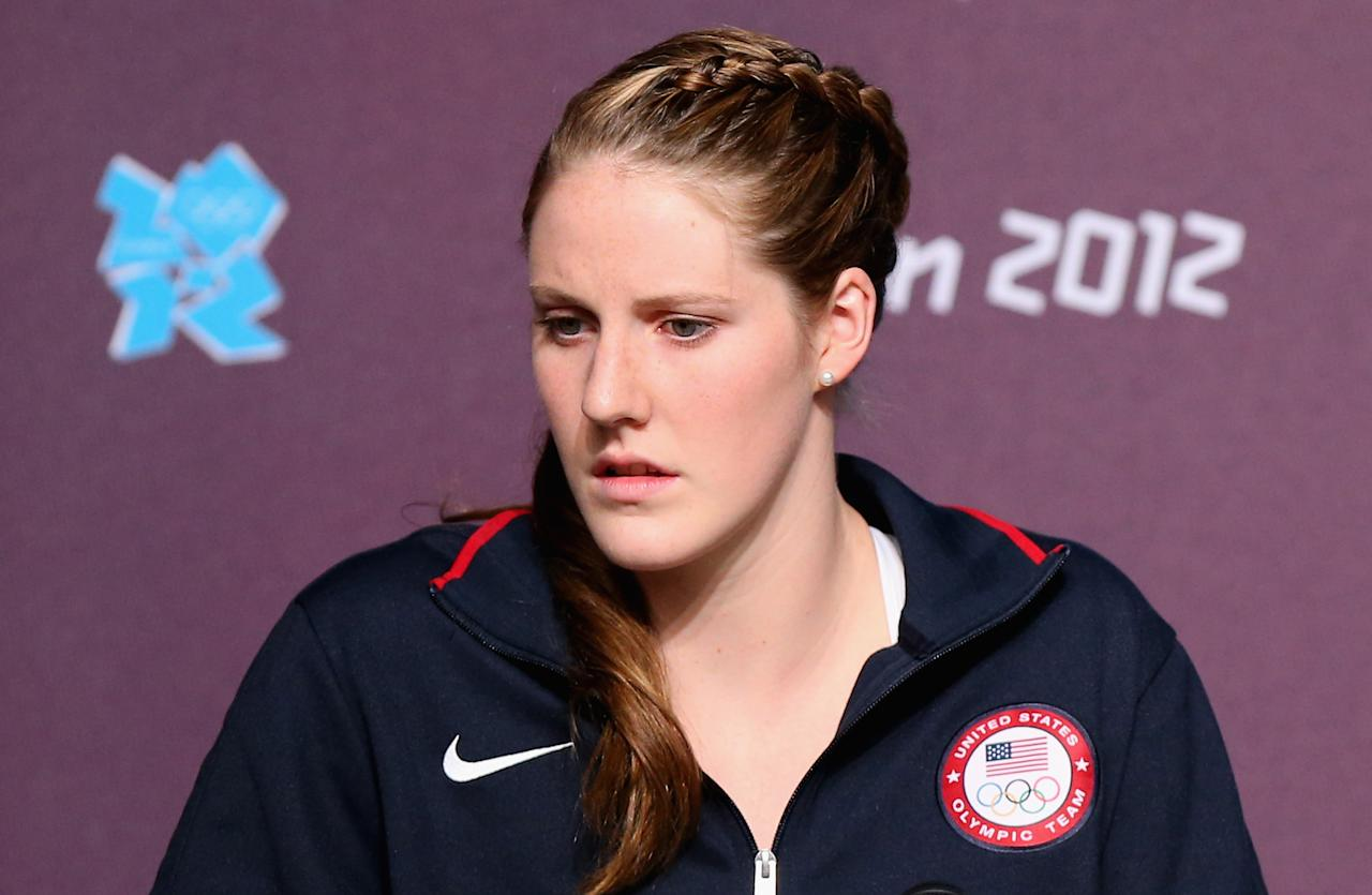 LONDON, ENGLAND - JULY 26:  Missy Franklin of the USA Swim Team speaks during a press conference at the Main Press Center on July 26, 2012 in London, England.  (Photo by Ryan Pierse/Getty Images)