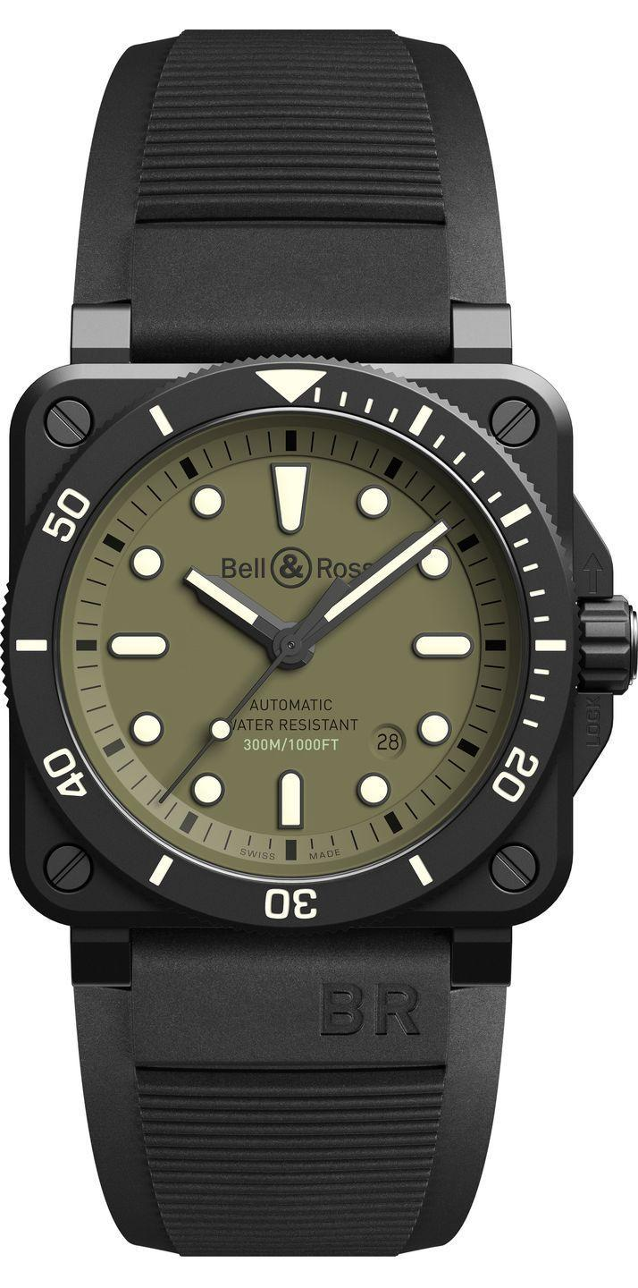 """<p>BR 03-92 Diver Military</p><p><a class=""""link rapid-noclick-resp"""" href=""""https://www.bellross.com/"""" rel=""""nofollow noopener"""" target=""""_blank"""" data-ylk=""""slk:SHOP"""">SHOP</a></p><p>Matching professional quality with functional aesthetics, the BR 03-92 Diver Military builds on the brand's history of producing rugged military-inspired watches. Water-resistant to 300 meters it is also resistant to shocks and magnetic interference. The interior is steel, the exterior is ceramic and the indices glow bright green in low-light. In the daytime the olive dial reflects its origins, mirroring military uniform.</p><p> It comes in its own flight-case which contains both a black rubber strap and an olive drab Velcro strap, lest anyone still doubt your action-ready status. Limited to 999 watches.</p><p>£3,990; <a href=""""https://www.bellross.com/"""" rel=""""nofollow noopener"""" target=""""_blank"""" data-ylk=""""slk:bellross.com"""" class=""""link rapid-noclick-resp"""">bellross.com</a></p>"""