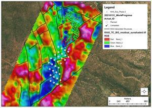Map of the geophysical signature overlaid with the planned 32 holes for the Step-out Exploration Drilling Program