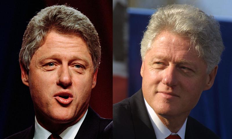 President Clinton's gray hair turned white during his terms in office. Depicted in 1992 and 2000. (Photos: Getty Images)