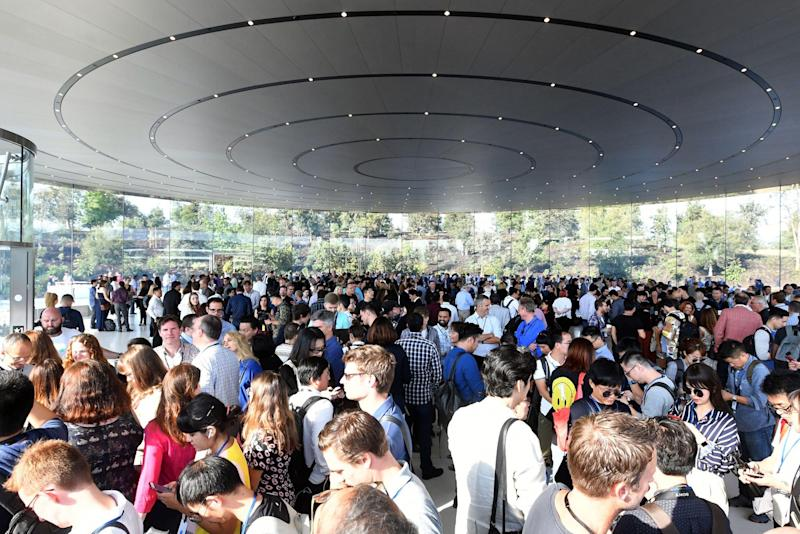 A crowd of people wait to enter the Steve Jobs Theater ahead of a media event: JOSH EDELSON/AFP/Getty Images