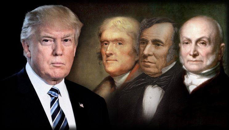Presidents Donald Trump, Thomas Jefferson, Zachary Taylor and John Quincy Adams (Photo illustration: Yahoo News; photos: AP, Photo12/UIG via Getty Images, Stock Montage/Getty Images, GraphicaArtis/Getty Images)