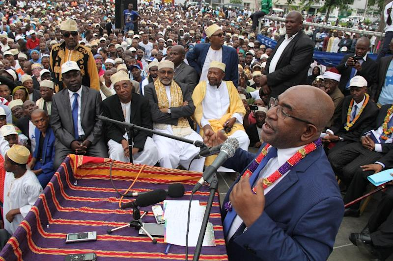 Comoros presidential candidate Azali Assoumani first came to power in 1999 after ousting acting president Tadjidine Ben Said Massounde in a coup, then won the presidential election three years later, stepping down when his term ended in 2006 (AFP Photo/ibrahim youssouf)
