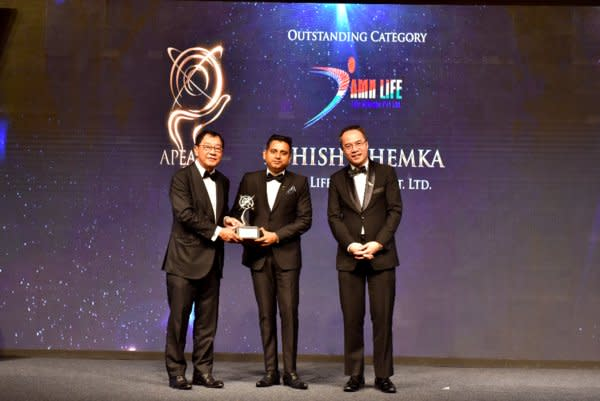 Mr. Ashish Khemka, Chairman and Managing Director of AMN Life Science receiving the Asia Pacific Entrepreneurship Awards 2019 India under the Outstanding Category