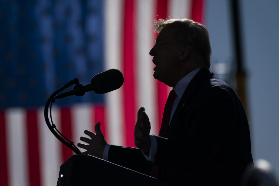 President Donald Trump speaks during a campaign rally at Phoenix Goodyear Airport, Wednesday, Oct. 28, 2020, in Goodyear, Ariz. (AP Photo/Evan Vucci)