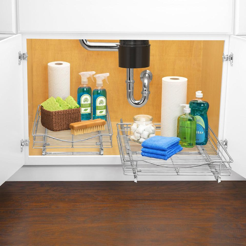 <p>Store cleaning products, heavy duty pots and pans, and more on this <span>Lynk Professional Slide Out Cabinet Organizer</span> ($45, originally $56). They slide out so you can easily access your kitchen necessities.</p>