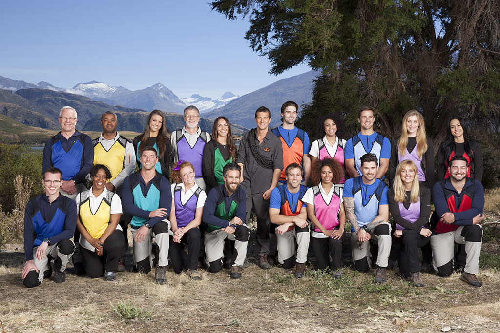GET OUT ALIVE WITH BEAR GRYLLS -- Season: 1 -- Pictured: (l-r) Back Row: Jim Vach, Wilson Sheppard, Madeline Mitchell, Lucky Larson, Alicia Berkwitt, Bear Grylls, Jeff Powell, Erika Franklin, Royce Wadsworth, Canden Bliss Jackson, Esmeralda Dipierro; Front Row: Austin Vach, Robin Sheppard, Ryan Gwin, Louie Larson, Spencer Hill, Chris Winter, Vanessa Vazquez, Kyle Krieger, Donna Nettles Jackson, Dominic Dipierro -- (Photo by: Paul Drinkwater/NBC)