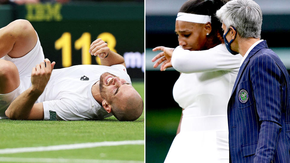 Adrian Mannarino and Serena Williams, pictured here retiring hurt in back-to-back matches at Wimbledon.