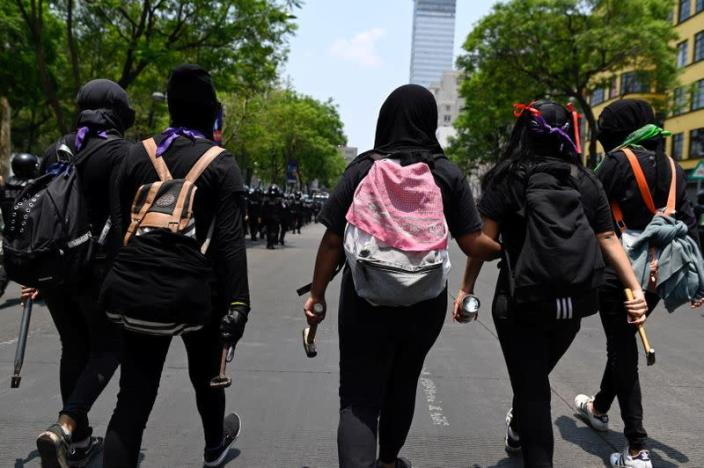 FILE PHOTO: Feminist collectives hold a protest against the police and the excess of public force