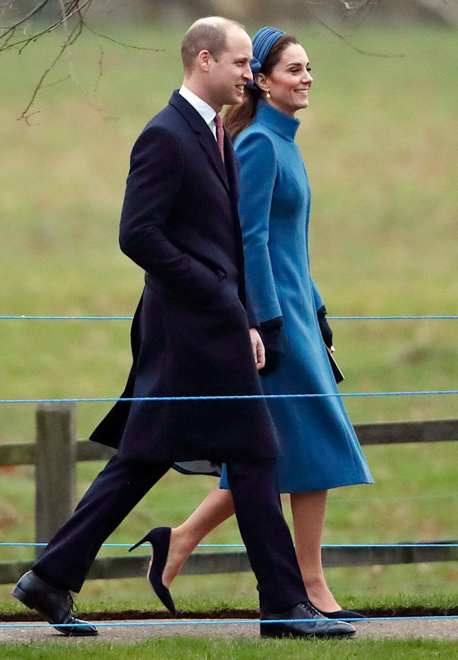 <p>The Duke and Duchess of Cambridge attended a service at St. Mary Magdalene Church, but not before greeting a few fans who had gathered. Photo: Getty </p>
