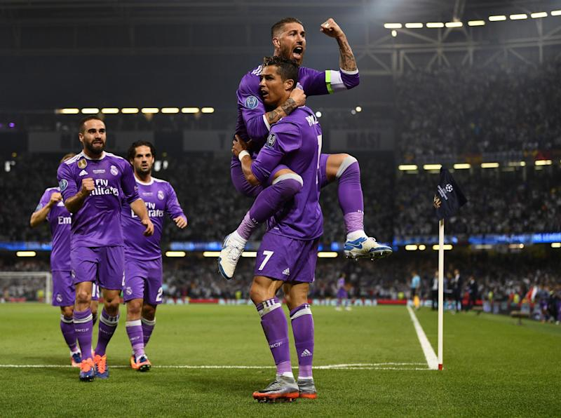 Real Madrid celebrate taking the lead through Cristiano Ronaldo