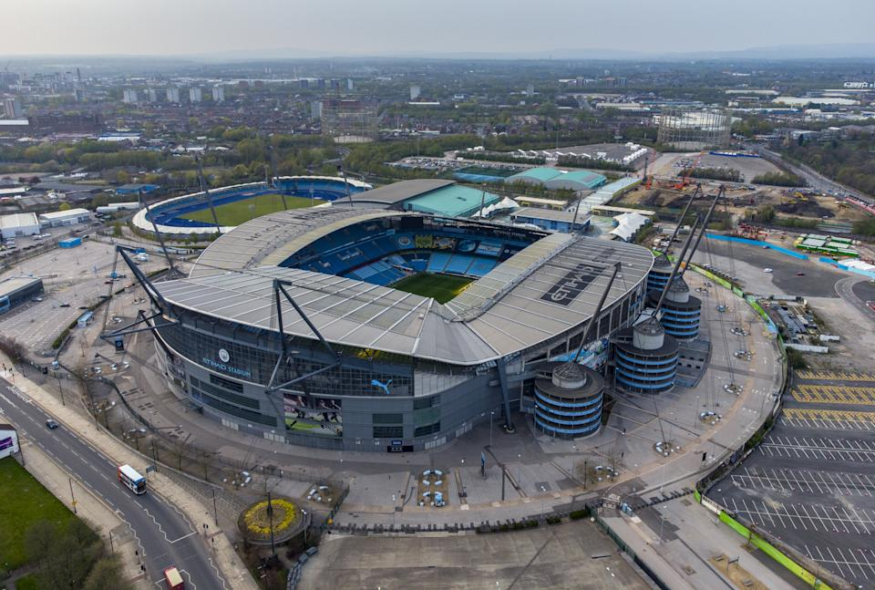 A general view from above of the Etihad Stadium, home of Manchester City FC. Picture date: Tuesday April 20, 2021. (Photo by Peter Byrne/PA Images via Getty Images)