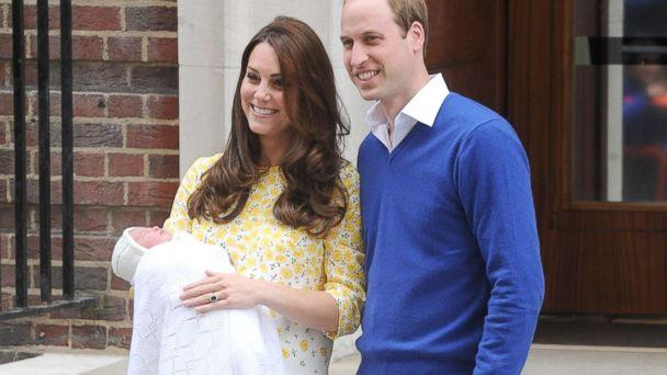PHOTO: Prince William, Duke of Cambridge and Catherine, Duchess of Cambridge show off their new arrival, Princess Charlotte to the world outside the Lindo Wing of St. Mary's Hospital, May 2, 2015, in London. (Paul Treadway/Barcroft Media via Getty Images)