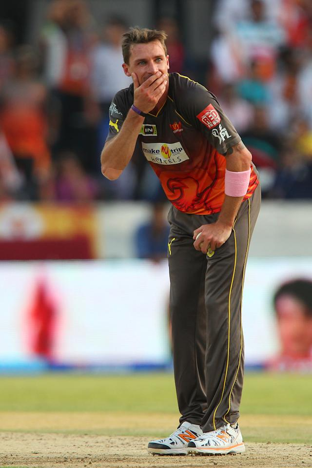Dale Steyn reacts after an unsuccessful appeal for the wicket of  Kieron Pollard during match 43 of the Pepsi Indian Premier League between The Sunrisers Hyderabad and Mumbai Indians held at the Rajiv Gandhi International  Stadium, Hyderabad  on the 1st May 2013..Photo by Ron Gaunt-IPL-SPORTZPICS ..Use of this image is subject to the terms and conditions as outlined by the BCCI. These terms can be found by following this link:..https://ec.yimg.com/ec?url=http%3a%2f%2fwww.sportzpics.co.za%2fimage%2fI0000SoRagM2cIEc&t=1493180679&sig=Vh0MsfJjEFHl4l._pEOMfg--~C