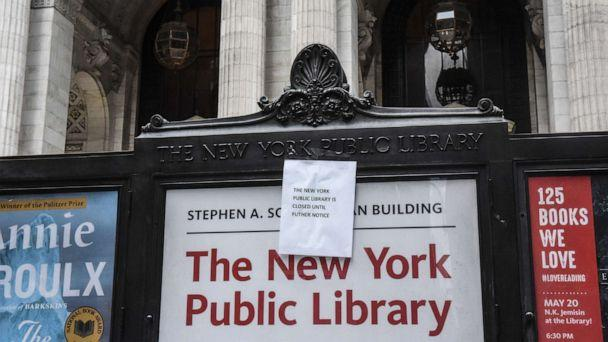 PHOTO: A sign announces the closure of the New York Public Library main branch on Fifth Avenue, March 15, 2020, in New York. (Stephanie Keith/Getty Images)