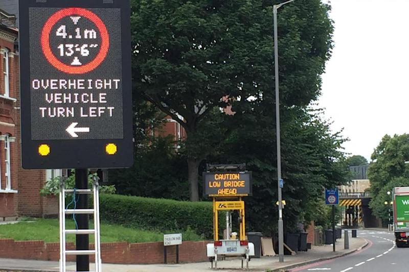 The new signs detect vehicles that are too tall for the bridge (Network Rail)