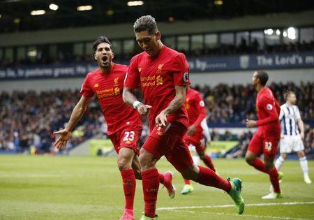 Britain Soccer Football - West Bromwich Albion v Liverpool - Premier League - The Hawthorns - 16/4/17 Liverpool's Roberto Firmino celebrates scoring their first goal  Reuters / Andrew Yates Livepic