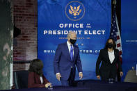 President-elect Joe Biden and Vice President-elect Kamala Harris arrive at an event to introduce their nominees and appointees to economic policy posts at The Queen theater, Tuesday, Dec. 1, 2020, in Wilmington, Del. (AP Photo/Andrew Harnik)