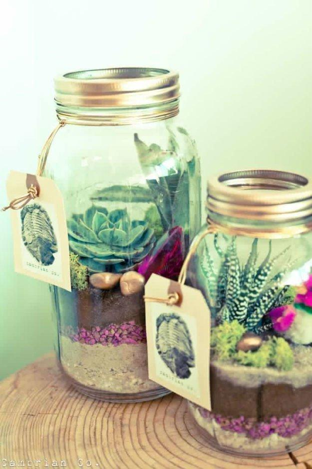 These bang-on-trend jar terrariums will go down a storm with your girlfriends. [Photo: Pinterest]