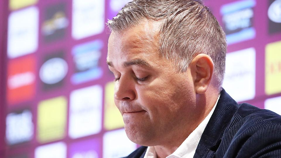 Pictured here, Anthony Seibold at his final Brisbane Broncos press conference.