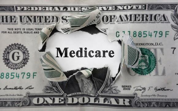 The word Medicare written where George Washington's face would otherwise be on a one dollar bill.