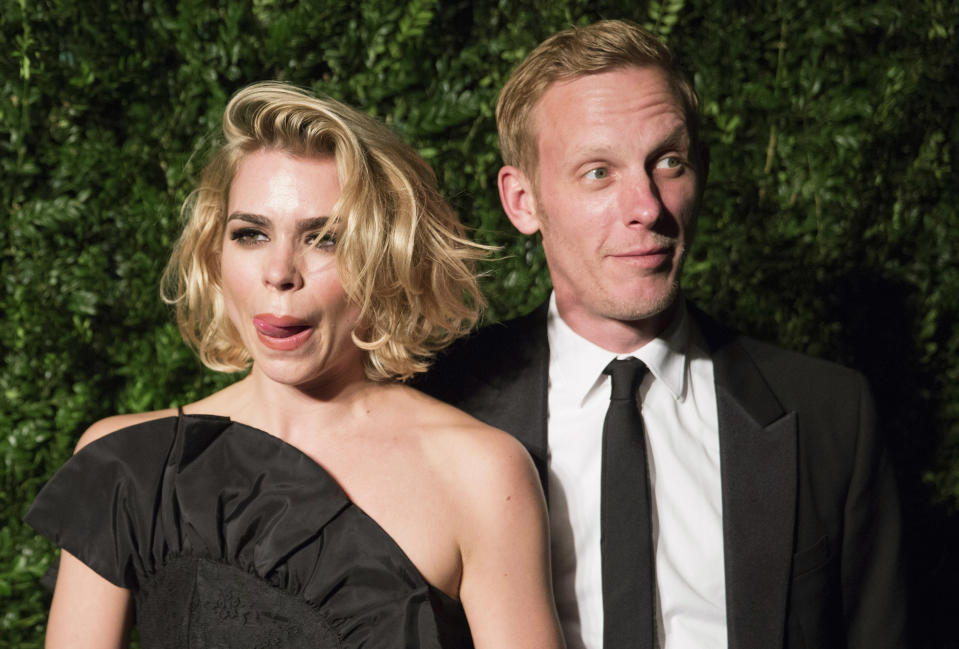 British actors Billie Piper and her husband Lawrence Fox attend the Evening Standard Theatre awards in London November 30, 2014. REUTERS/Neil Hall (BRITAIN - Tags: ENTERTAINMENT)