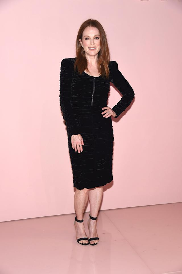 Julianne Moore wears Tom Ford to the designer's SS18 show in New York. (Photo: Getty)