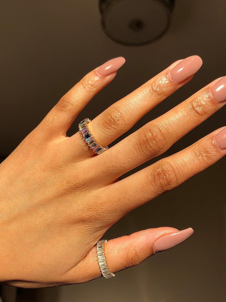 "<h2>Baublebar Alidia Ring</h2><br>""These rings had me feeling quite glam this month. They're the perfect amount chunky–– just small enough so it's not bothersome, but rest assured they will be seen sparkling in the light from a mile away. So far each ring has survived multiple hand washes, the occasional scrape, and a few accidental drops. They come in all kinds of colors and to be honest I would like another one."" <em>– Alexandra Polk, Lifestyle Writer</em><br><br><em>Shop <strong><a href=""https://www.baublebar.com/product/56185-mini-alidia-cubic-zirconia-ring"" rel=""nofollow noopener"" target=""_blank"" data-ylk=""slk:Baublebar"" class=""link rapid-noclick-resp"">Baublebar</a></strong></em><br><br><strong>BaubleBar</strong> Mini Alidia Cubic Zirconia Ring, $, available at <a href=""https://go.skimresources.com/?id=30283X879131&url=https%3A%2F%2Fwww.baublebar.com%2Fproduct%2F56185-mini-alidia-cubic-zirconia-ring"" rel=""nofollow noopener"" target=""_blank"" data-ylk=""slk:BaubleBar"" class=""link rapid-noclick-resp"">BaubleBar</a>"