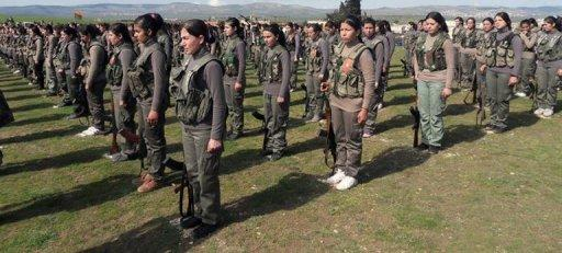 A photo shows members of the first Kurdish female battalion, Martyr Rokan Battalion, in Afrin, Syria, February 22, 2013