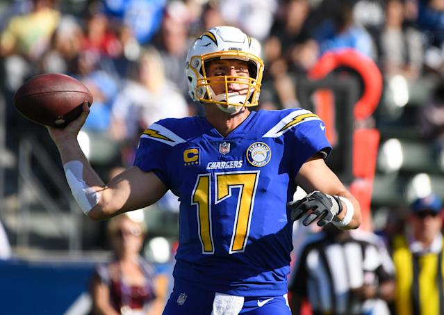 Philip Rivers' 25th consecutive completion Sunday tied an NFL record. (Getty)