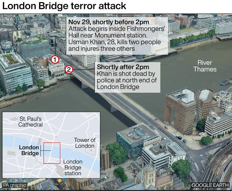London Bridge terror attack. See story POLICE LondonBridge. Infographic by PA Graphics