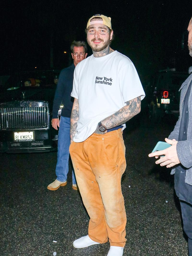 Post Malone, vouching for the comfort of Billy's work pants.