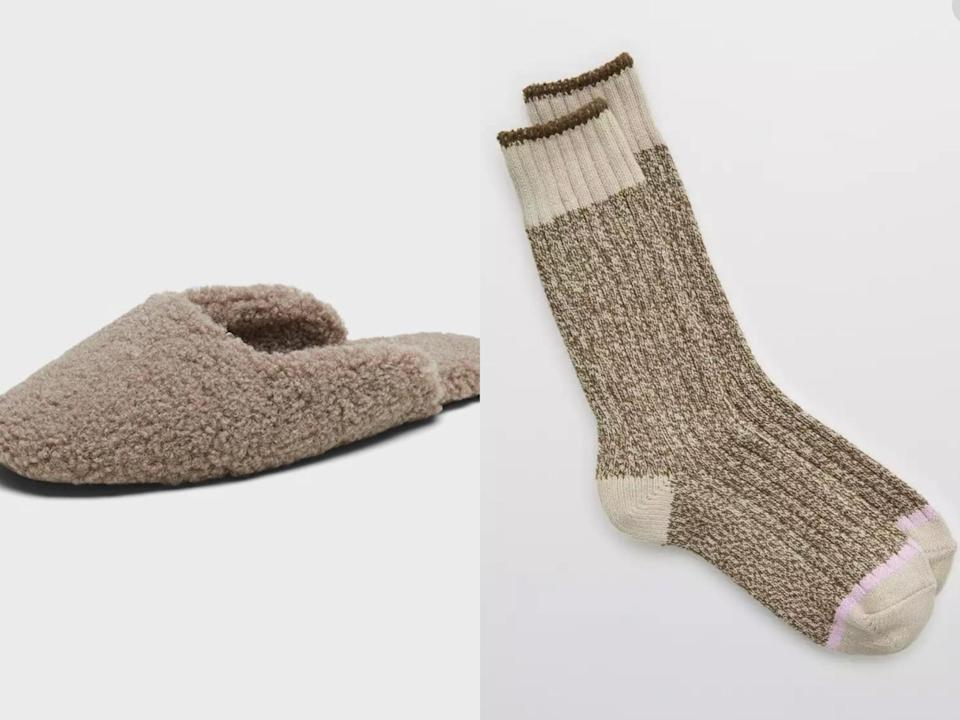 <p>Cozy but cute is our vibe these days, and this unbeatable duo of <span>Banana Republic Sherpa Indoor Slippers</span> ($54, originally $68) and <span>Aerie Colorblock Crew Socks</span> ($7, originally $10) strikes the perfect balance between style and comfort.</p>
