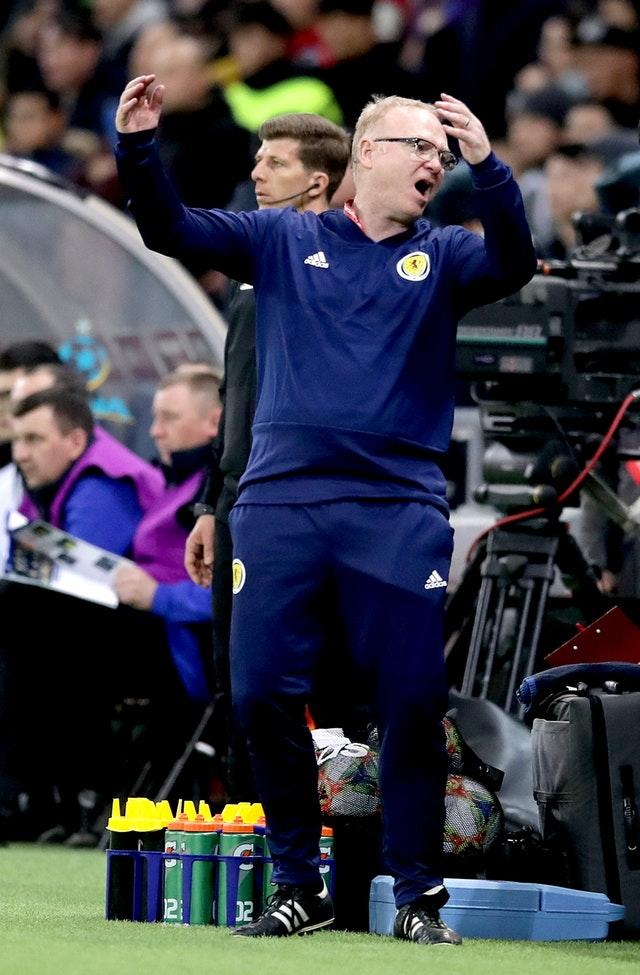 Alex McLeish gestures on the touchline during Scotland's loss in Kazakhstan (Adam Davy/PA)