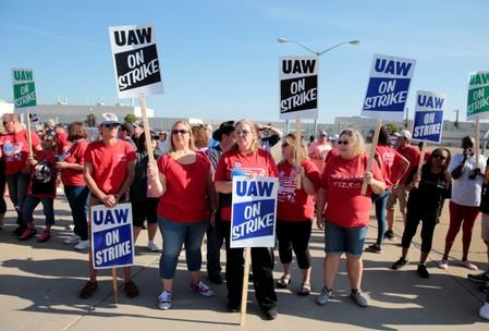 GM assembly workers picket outside shuttered Lordstown Assembly plant during UAW national strike in Lordstown, Ohio