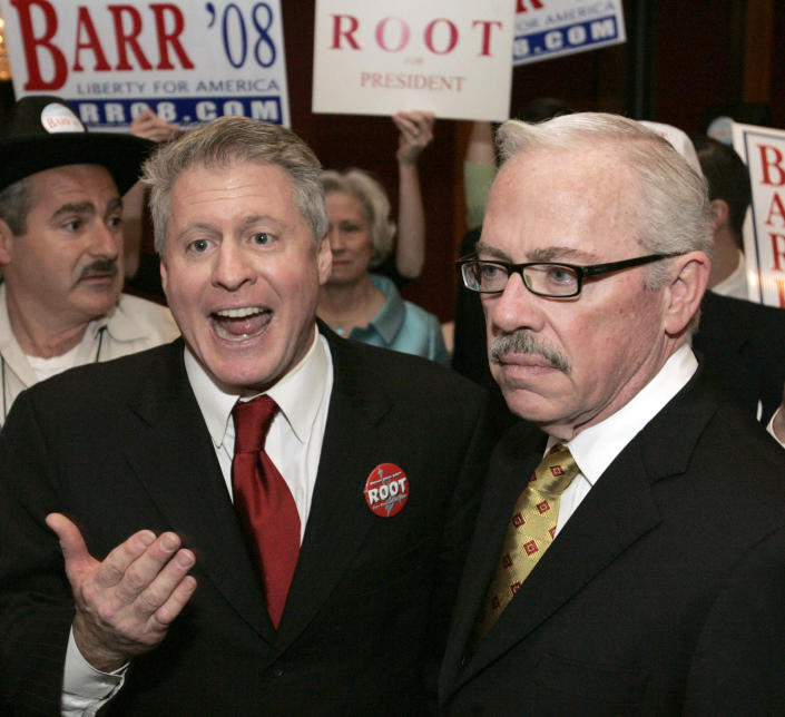 In this Sunday, May 25, 2008 photo, Wayne Allyn Root and former Republican congressman Bob Barr talk to their supporters for the Libertarian Presidential nomination after Root gave his support for Barr at the Libertarian National Convention in Denver. The Libertarian Party picked the former Republican congressman from Georgia to be its presidential candidate after six rounds of balloting. Something's going on in America this election year: a renaissance of an ideal as old as the nation itself - that live-and-let-live, get-out-of-my-business, individualism vs. paternalism dogma that is the hallmark of libertarianism. But what looms are far larger questions about whether an America fed up with government bans and government bailouts - with government, period - is seeing a return to its libertarian roots. (AP Photo/Will Powers)