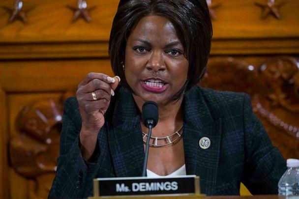 PHOTO: Rep. Val Demings questions Intelligence Committee Minority Counsel Stephen Castor and Intelligence Committee Majority Counsel Daniel Goldman during the House impeachment inquiry hearings, Dec. 9, 2019 in Washington. (Doug Mills/Pool/AFP via Getty Images, FILE)