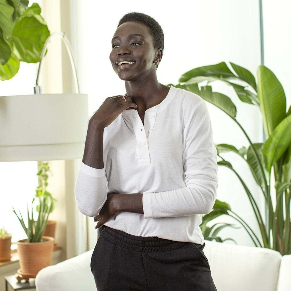 """<p><strong>Brooklinen</strong></p><p>brooklinen.com</p><p><a href=""""https://go.redirectingat.com?id=74968X1596630&url=https%3A%2F%2Fwww.brooklinen.com%2Fproducts%2Fcourt-henley-last-call&sref=https%3A%2F%2Fwww.womenshealthmag.com%2Flife%2Fg35699619%2Fbrooklinen-sheets-sale%2F"""" rel=""""nofollow noopener"""" target=""""_blank"""" data-ylk=""""slk:Shop Now"""" class=""""link rapid-noclick-resp"""">Shop Now</a></p><p><strong><del>$38</del> $31 (20% off)</strong></p><p>Made with a super soft cotton blend, this henley will transition nicely from your Zoom meeting to a virtual yoga class.</p>"""