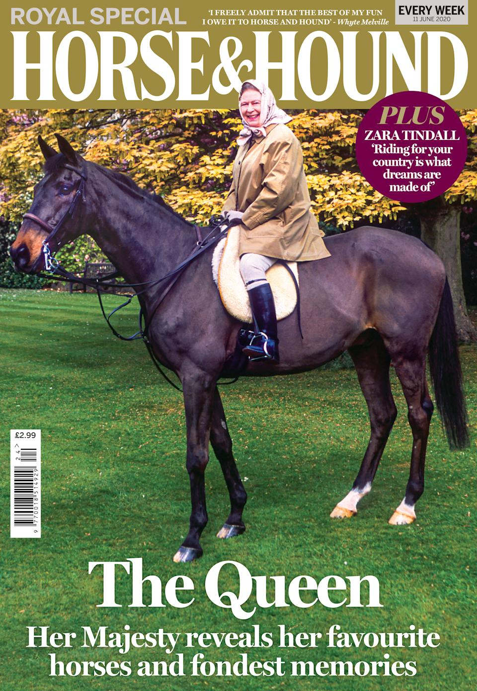 EMBARGOED TO 0001 THURSDAY JUNE 11 Undated handout photo issued by Horse and Hound showing the cover photo of the Queen riding Sanction. The Queen has revealed her favourite horses, including Sanction, from the seven decades of her reign for the first time.