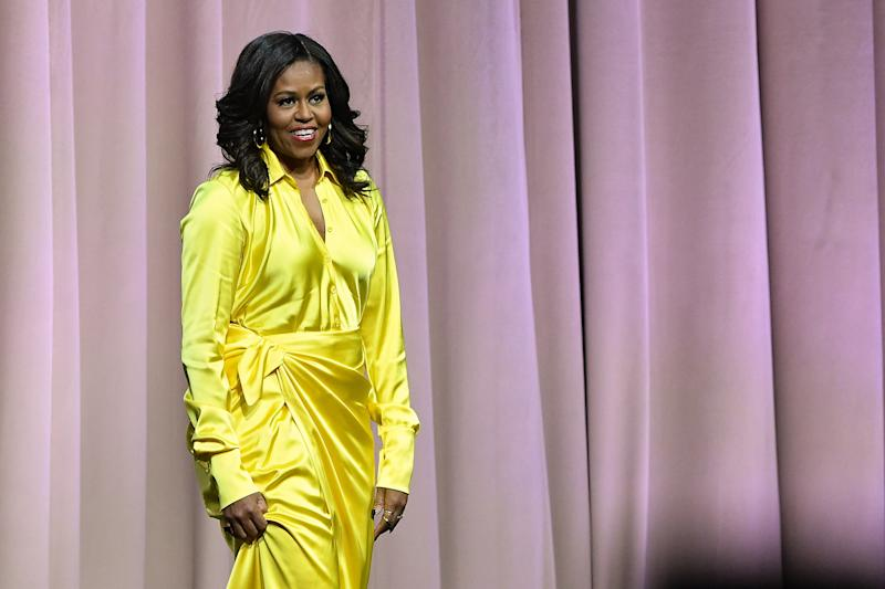 5060b277d Michelle Obama Wore Sparkly Over-the-Knee Balenciaga Boots to Hang Out With  Sarah Jessica Parker