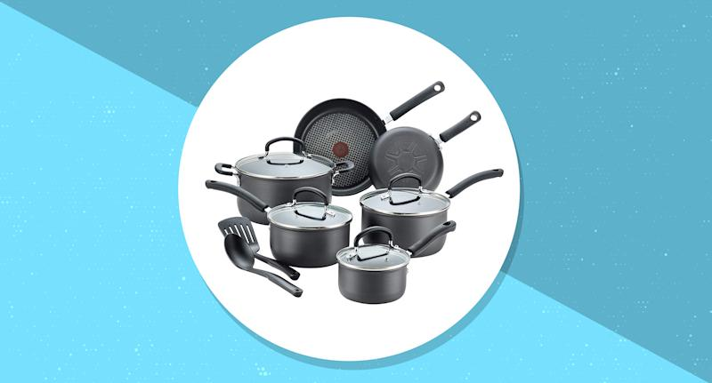Right now, shoppers can score the T-fal Ultimate Hard Anodized Non-stick 12-piece set for over 40 percent off! (Photo: Amazon)