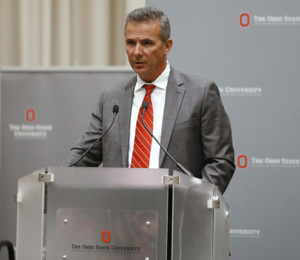 Ohio State football coach Urban Meyer makes a statement during a news conference in Columbus, Ohio, on Wednesday. (AP)